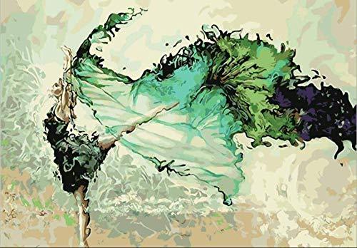 Pintar Por Número - Bailarina verde abstracta - Para, Niños, Adultos Y Adultos Mayores, Diy Pintura Al Óleo Con Lino 16X20 Pulgadas Lienzo Arte Pintura Decoración Hogar - (Sin Marco)