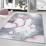 HomebyHome Alfombra Infantil Diseño del Oso Habitación Infantil para bebé Gris Rosa rectángulo Redonda, tamaño:160x230 cm