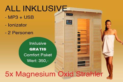 Ivar-2 LUXUS 2 Pers. Sauna Infrarotkabine & Infrarotsauna/Infrarot Wärmekabine + Radio + Ionizer + Leselampe ALL IN + 1750 Watt