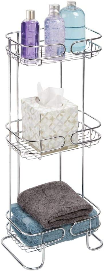 mDesign Rectangular National products Metal Bathroom Shelf Ve Standing Factory outlet - Free Unit