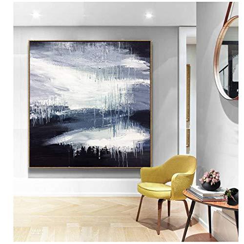 Groot abstract schilderij zwart-wit winter olieverfschilderij textuur kunst abstract schilderij op canvas kantoor decor 60x60cm (23.6
