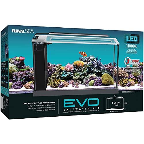 Fluval Sea Evo V Saltwater Fish Tank Aquarium Kit, Black, 5 gal, 10528A1