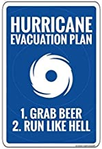NDTS Metal Deco Sign 12x16 inches Hurricane Evacuation Plan Sign Aluminum Metal Signs Funny Tin Sign Poster for Home