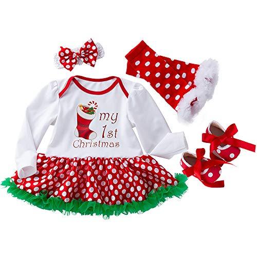 Liyukee Per 0-2 Anni, 4 Pezzi Neonato Bambino Neonato Vestiti Set Natale Stampa Manica Lunga Maglietta Pagliaccetto Tutu Gonna Abito Con Fascia Abiti Vestito