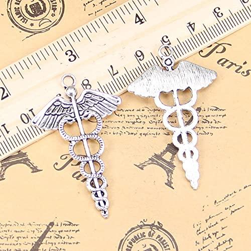 WANM Encanto 6 Piezas Encantos Caduceo Medicina Icono 49X30Mm Colgante Antiguo Vintage Joyería De Plata Tibetana DIY para Collar De Pulsera