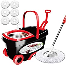 Tsmine Spin Mop & Bucket Floor Cleaning System, Household Cleaning Supplies Stainless Steel Mop Bucket with Wringer on Wheels - 6 Mop Heads 61