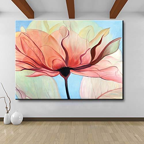 Leinwand Kunstdruck Malerei Ölgemälde Retro Home Dekoration lila blaue Blumen und Schmetterlinge rahmenlose dekorative Poster auf Wohnzimmer Wand A9 50x70cm