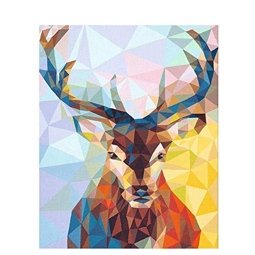 zhangsh DIY by Numbers Pigment Mural Pintura por números para niños Adultos Cristal Porcelana Ciervo Animal Digital Decoración Arte-No Frame-40x50cm