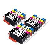 B-T Cartucce di ricambio compatibili per Canon 525 526 PGI525 CLI526 XL per Canon PIXMA MG5150 MG5350 MG5250 IX6550 MX885 MX895 MX715 IP4950 IP4850 MG6150 (15)
