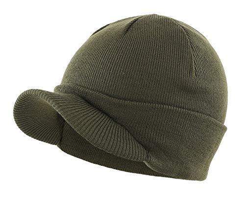 Home Prefer Men's Winter Beanie Hat with Brim Warm Double Knit Cuff Beanie Cap Army Green