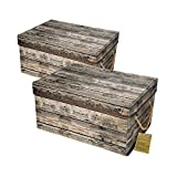 Livememory Fabric Storage Bins Decorative Storage Boxes with Lid and Handles for Office, Bedroom, Closet, Toys. L15.7 x W11.8 x H7.9 Inches (Not Made of Wood, 2 Pack)