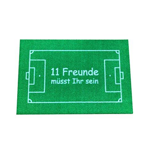 Tappetino Coppa del mondo di calcio di design per interni ed esterni, lavabile in lavatrice, antiscivolo. Dovete essere 11 amici in verde 60 cm x 40 cm