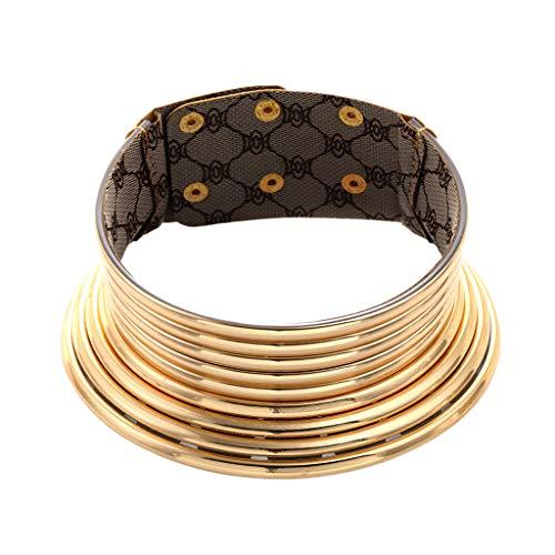Bonarty Collar De Gargantilla Gótica Africana Grande Collar De Gargantilla Ancha De Metal Regalo De Amigos - Oro Impreso, Tal como se Describe