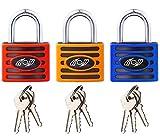 Candado (3 Unidades, 32 mm - (Seguridad Resistente), candado con 3 Llaves - para Puertas Exteriores, cobertizos, taquillas, Caja de Herramientas, almacén y más.