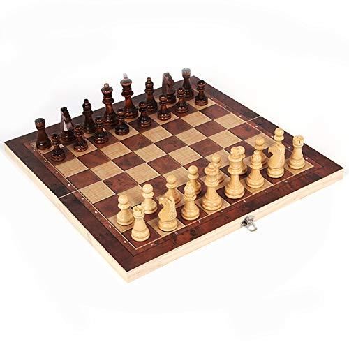 LAANCOO 29 * 29 cm 3 en 1 de ajedrez Plegable Tablero de ajedrez de Color de Madera, Adecuada para niños, Adultos, Principiantes