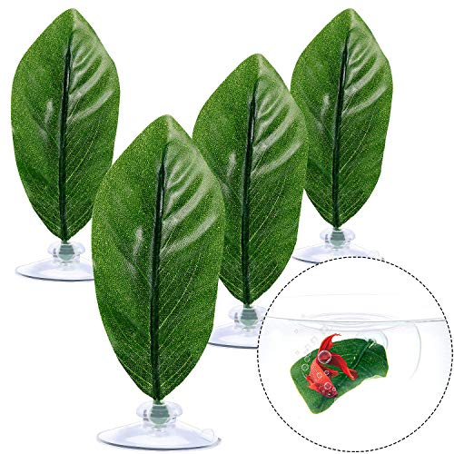 4 Pieces Betta Bed Leaf Hammock for Betta Fish, Lightweight and Realistic Resting Spot, No BPA, Practical, Comfortable and Safe(Single Leaf)