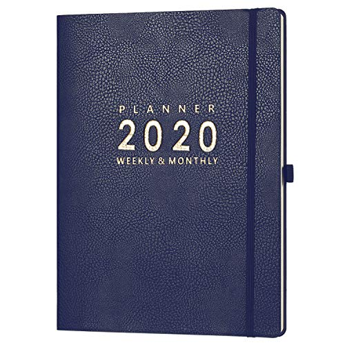 2020 Planner with Pen Holder - 8.5' x 11' Weekly & Monthly Planner with Calendar Stickers, January - December 2020, Inner Pocket with 24 Notes Pages, A4 Premium Thicker Paper