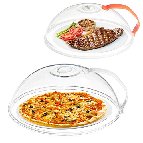 Microwave Splatter Cover-2 Pack, Microwave Cover for Foods, BPA Free Microwave Plate Cover Guard Lid with Adjustable Steam Vents Keeps Microwave Oven Clean Dishwasher Safe