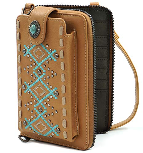 Montana West Crossbody Cell Phone Purse For Women Western Style Phone Bags Travel Size With Strap MWUSA-PHD-111BR