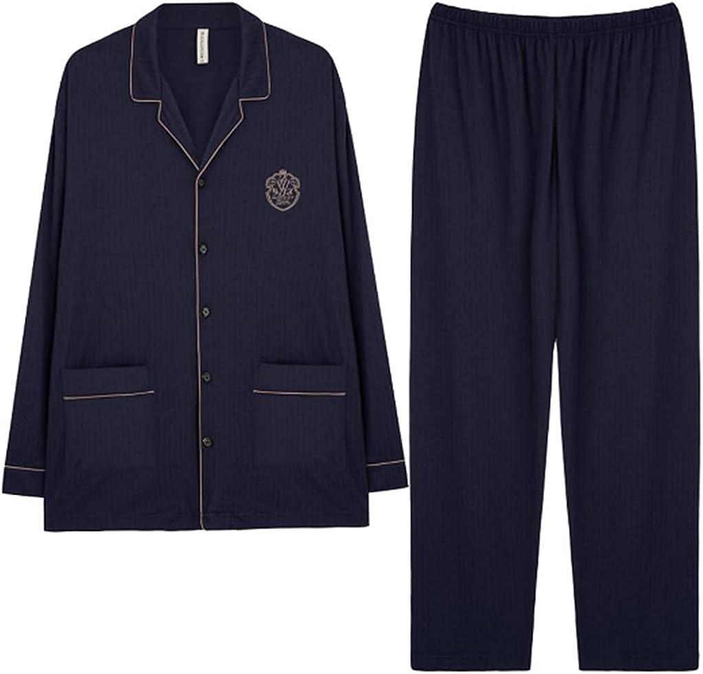 ft Fenteng Men Sleepwear Pajamas Set Long Sleeve Suit Trousers Casual Cotton Loungewear For Home
