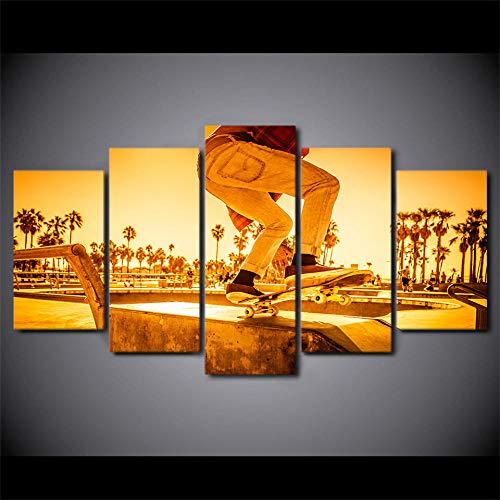 Foto's Home Decor muurkunst 5 stuks Skateboard schilderij Sunset Street Landschap Canvas Poster en afdrukken 20x35 20x45 20x55cm Geen lijst