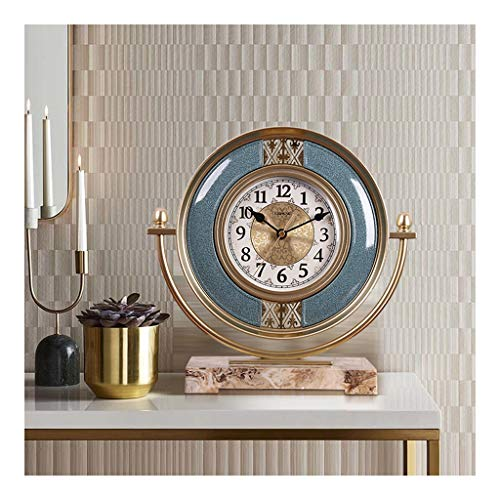hkwshop Reloj de Escritorio Reloj de Escritorio Sala de Estar Adornos anticuados Europeo CLÁSICO Moda CLÁSICO DE Modo DE DISPAÑOS Dormitorio Silencio Simple Simple Desktop Deskrocks Reloj de Mesa