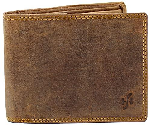 StarHide Afflitto cacciatore di pelle marrone portafoglio taschino da uomo è disponibile in una confezione regalo # 1060