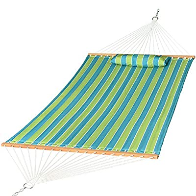 Prime Garden Quilted Fabric Hammock with Pillow, Hardwood Spreader Bars, 2 People (Blue Green Stripe)