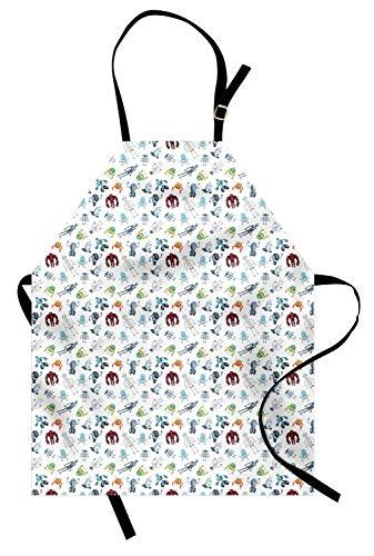 ABAKUHAUS Extraterrestre Delantal de Cocina, Mecánica Robots futuristas, Lavable Resiste Grasa Suciedad Polvo Colores Duraderos, Multicolor