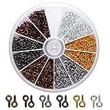 AIEX Vite Occhielli Ganci Occhielli Viti filettati per Gioielli Creazione di Risultati Artigianato Fai-da-Te, 6 Colori, 600 PCS