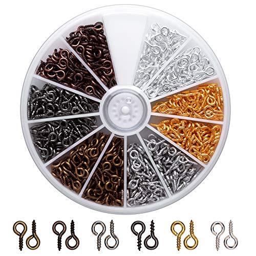 AIEX Ösenschraube Ösenstifte für Schmuckherstellung Ringschrauben für DIY Kunsthandwerk Augenschrauben für Anhänger Herstellung, 6 Farben, 600 PCS