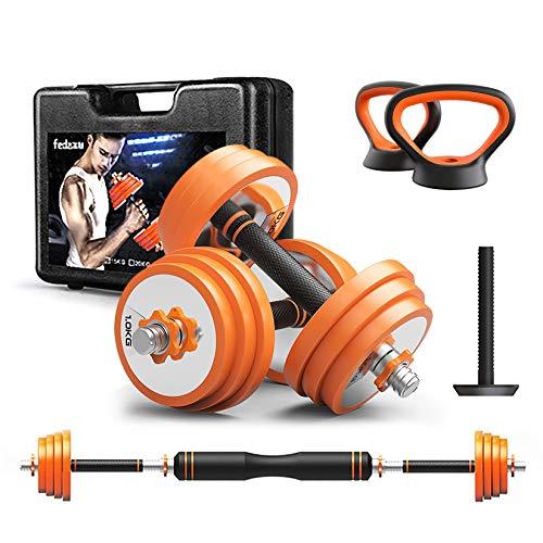 OMGPFR Fitness Dumbbell Barbell Kettlebells Push-Up Stand Sets, Entrenador de Pecho Mancuerna Ajustable Home Body Gym Bodybuilding Workout Hombres y Mujeres Equipo de Ejercicio,2x15kg