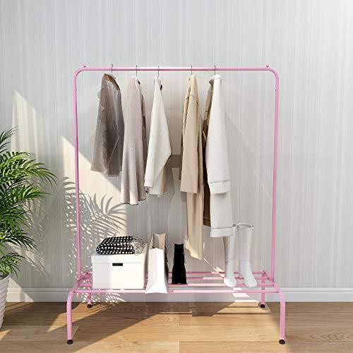 Kefair Garment Rack Freestanding Hanger Bedroom Clothing Rack with Bottom Shelves, Pink