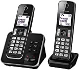 Panasonic KX-TGD322ALB Digital DECT Cordless Phone & Answering System with 2 Handsets, Black