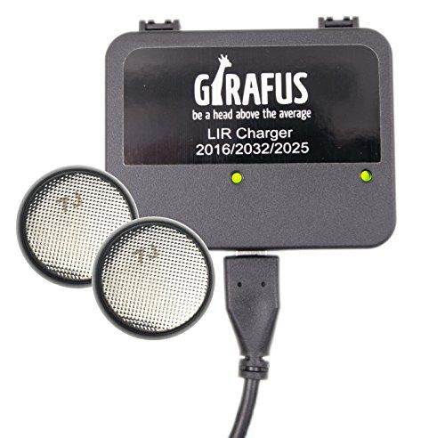 Girafus Knopfzellen Ladegerät für LIR-2032/2016 2025 Akkus USB Batterieladegerät inklusive 2X LiR2032 3.7Volt Akkus (ersetzen CR2032 Batterien) Akkuladegerät