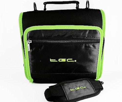 Nieuwe schoudertas voor de Philips PET1002 draagbare DVD-speler van TGC ®, Jet Zwart met Elektrische Groene Trim