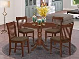 East West Furniture DLNO5-MAH-C 5-Piece Kitchen Table Set, Mahogany Finish, Linen Fabric Upholstered Seat