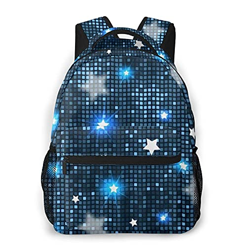 DJNGN Mochila casual atlética Azulejos de estrellas azules, Mochila de ocio de moda Mochila clásica unisex Mochila de viaje Mochila de hombro Mochila de 16 pulgadas