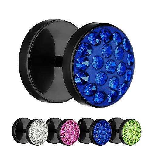 Treuheld® | 10mm Titan Fake Plug Ohrstecker | Schwarz | Blaue Glitzer - Kristalle | Fake Tunnel Ohrring mit Gewinde zum Schrauben | Damen + Herren