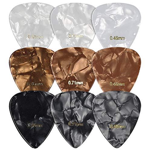 kwmobile Set de 9 púas para guitarra - En calibres fino medio y grueso - Para acústica eléctrica bajo o ukelele - Negro/Blanco/Dorado