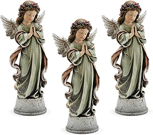 Napco Little Girl Praying Purchase Angel Muted x Resin Musi 4.5 14.5 Sage Selling rankings