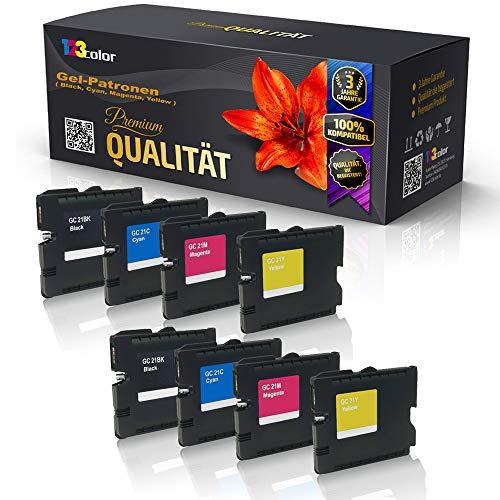 8 x alternatieve inktpatronen voor Ricoh Aficio GX3050SFN Aficio GX5050N Aficio GX7000 GC 21 405532 405533 405534 405535 zwart cyaan magenta geel set KCMY inkt cartridge