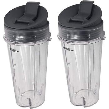2piece 16oz ninja replacement cup with lid for Nutri Ninja with BL660//BL663//BL663CO//BL665Q//BL771//BL773CO//BL810//BL820//BL830//QB3000//QB3000SSW//QB3004//QB3005