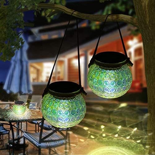 Queta Solar Laterne Glas Solarleuchte Solarlampe für außen wasserdicht Gartenlaterne Deko ideal für Garten,Terrasse, Hof und Balkon, 2 Stück