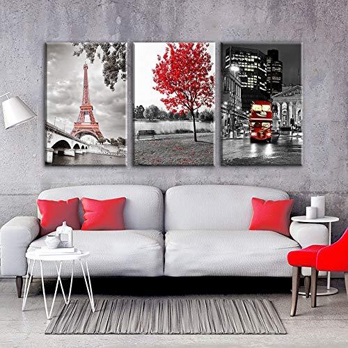 LIZHIOO 50 * 70 Cm 3 Piezas De Pinturas De Lienzo De La Torre Eiffel De París, Impresiones De Alta Definición De Arces Rojos para Automóviles Y Autobuses, Decoración del Hogar Murales (sin Marco)