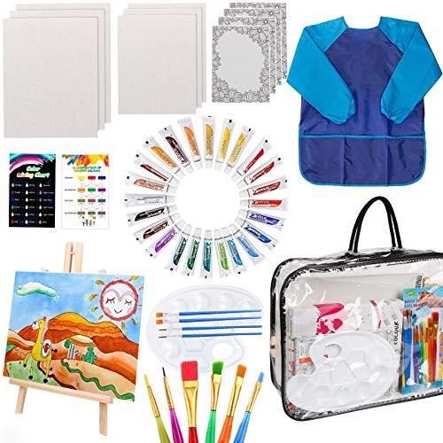 HOTOOLME 49 Stück Acryl Leinwand Set für Kinder, Keilrahmen Set zum bemalen, 24 Acrylfarben Set mit Holzstaffelei, Leinwänden, Pinsel, Palette und Aufbewahrungstasche
