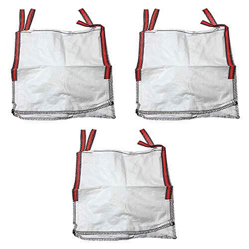 MIRTUX 3 Big Bag de 4 poignées renforcées avec mesures de 85 x 85 x 90 cm. Charge maximale de 1000 kg. Sacs idéaux pour différents usages : débris, jardinage, terre, agriculture, ordures, bois...