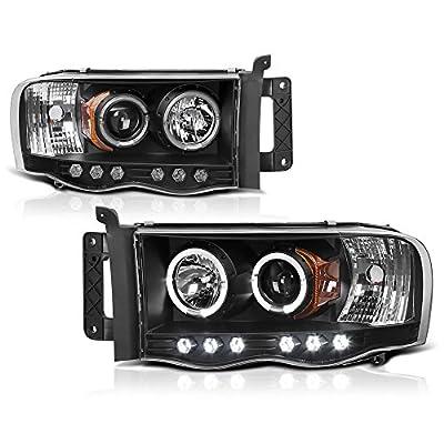 VIPMotoZ 2002-2005 Dodge RAM 1500 2500 3500 LED Halo Headlights Headlamps, Driver and Passenger Side
