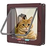 Rysmliuhan Shop Gatera para Puerta Gateras para Gatos Accesorios de Gato para Mascotas Gato Puerta de la Puerta Perro Aleta de Puerta Inteligente Cat Flap Brown,XL