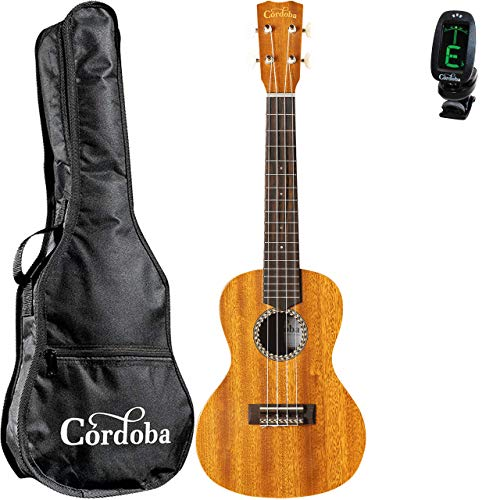 Cordoba 20CM Concert Ukulele with Cordoba Standard Gig Bag and Clip-on Tuner